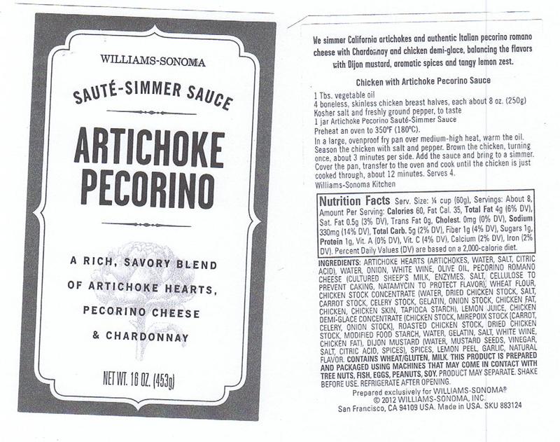 Artichoke Pecorino Sauce