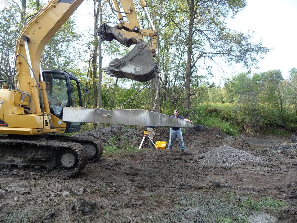 Little Sucker Brook: Laying passage foundation