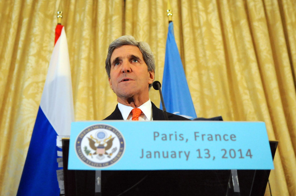 Secretary Kerry Speaks at a Trilateral News Conference