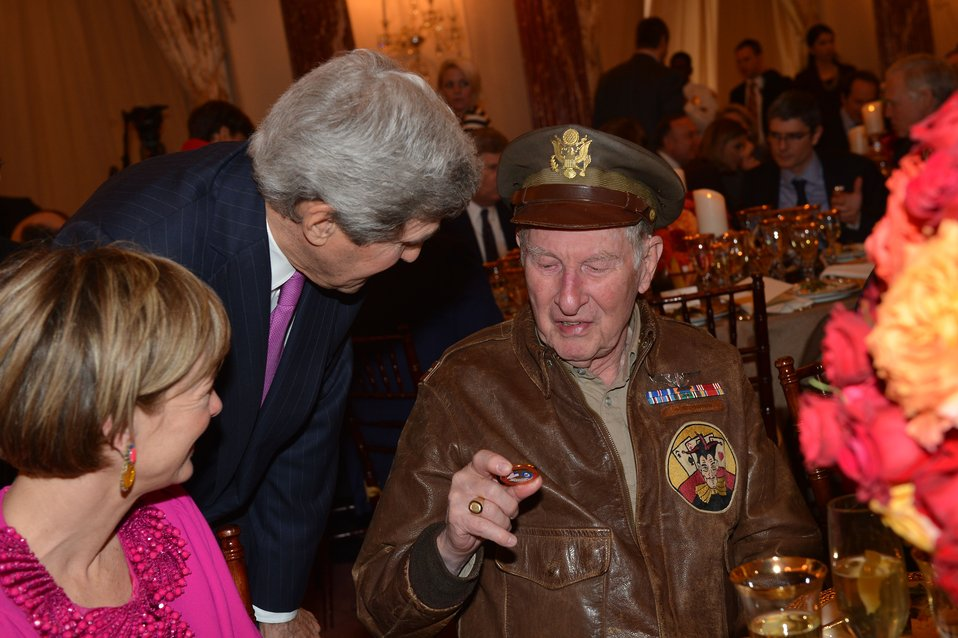 Secretary Kerry and U.S. Army First Lt. Ordel Admire a Service Medal