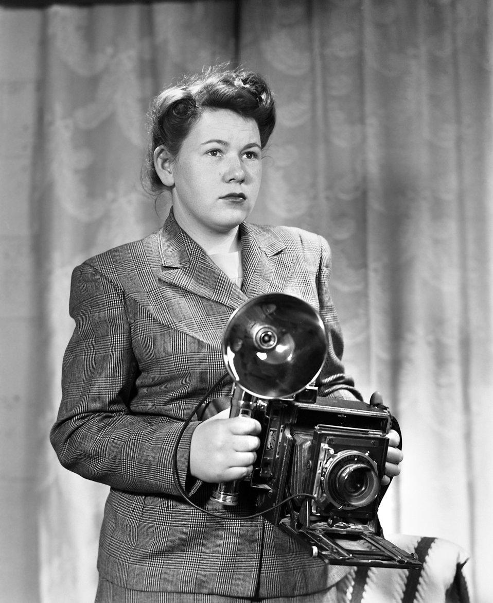 Helen Bean with 4x5 Press Camera Oak Ridge 1947
