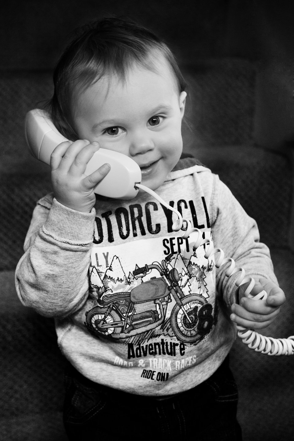 Boy making a phone call