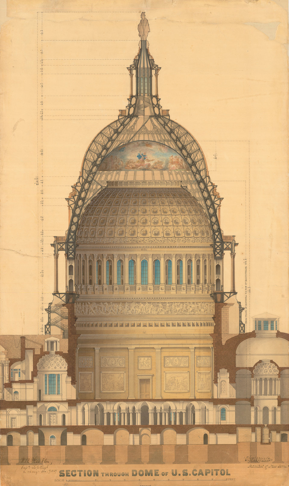 U.S. Capitol Dome Section. Drawing by Thomas Walter, 1859