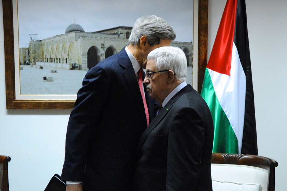 Secretary Kerry Chats With Palestinian Authority President Abbas