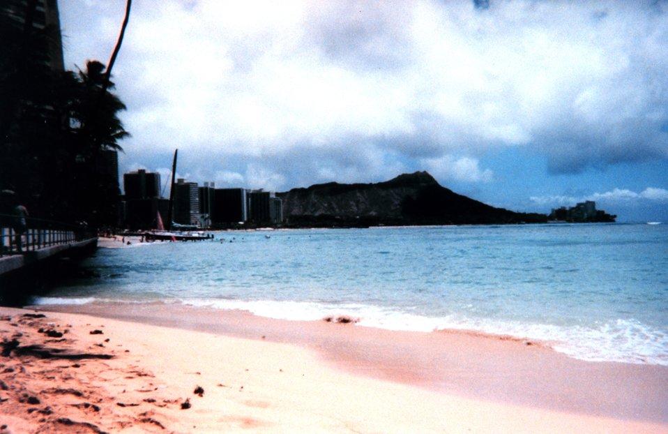A silhouette of Diamondhead as seen from Waikiki.
