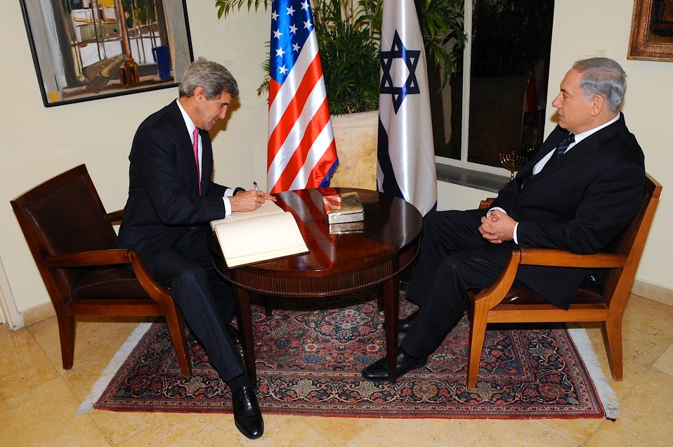 Secretary Kerry Signs Guest Book in Jerusalem