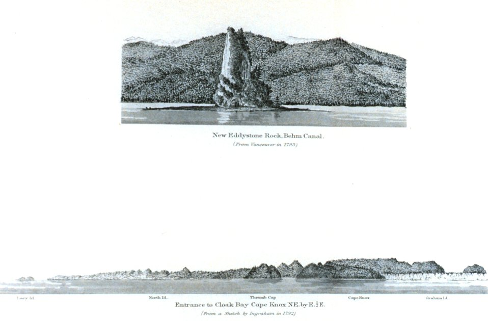 New Eddystone Rock, Behm Canal.  Entrance to Cloak Bay.  In: Pacific Coast Pilot Alaska Part I 1883.  P. 50.  Library call number VK943 .N3 1883.
