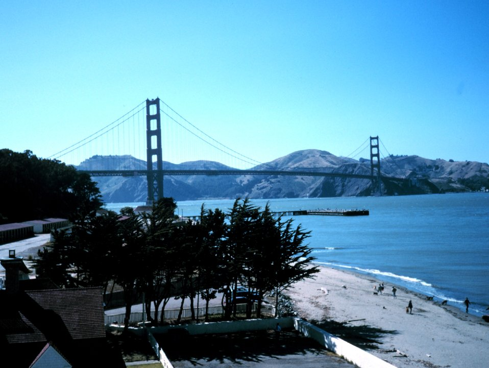 The Golden Gate Bridge as seen from atop NOAA's Gulf of the Farallones National Marine Sanctuary Office at the Presidio, San Francisco.