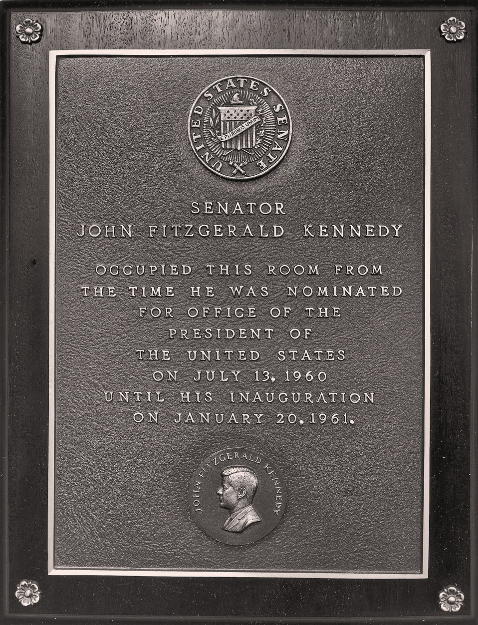John F. Kennedy Room Plaque