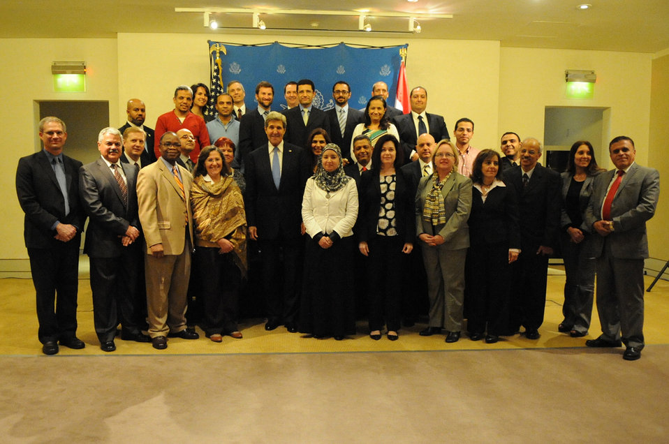 Secretary Kerry Poses for a Photo With Embassy Cairo Staff