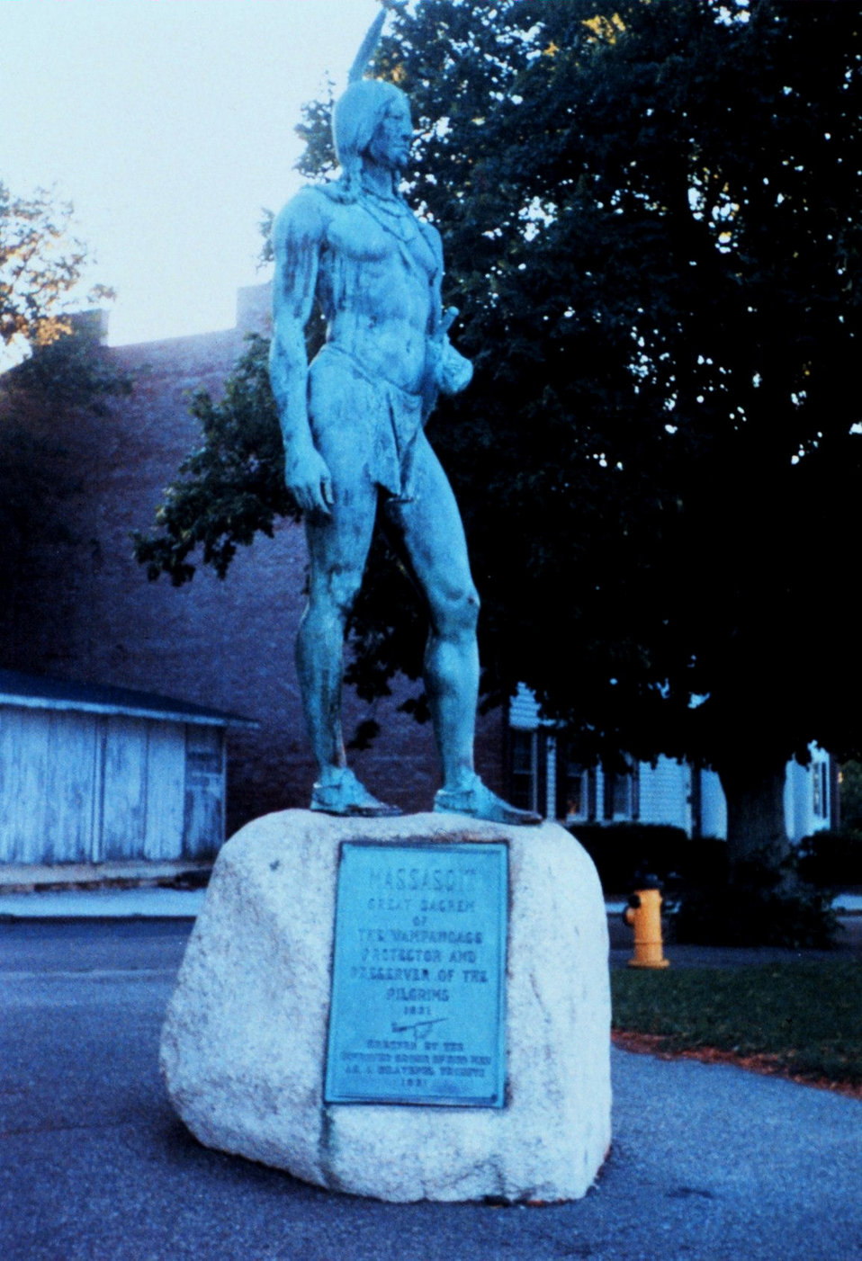 Massasoit, protector and preserver of the Pilgrims.  Statue erected in his memory at Plymouth.