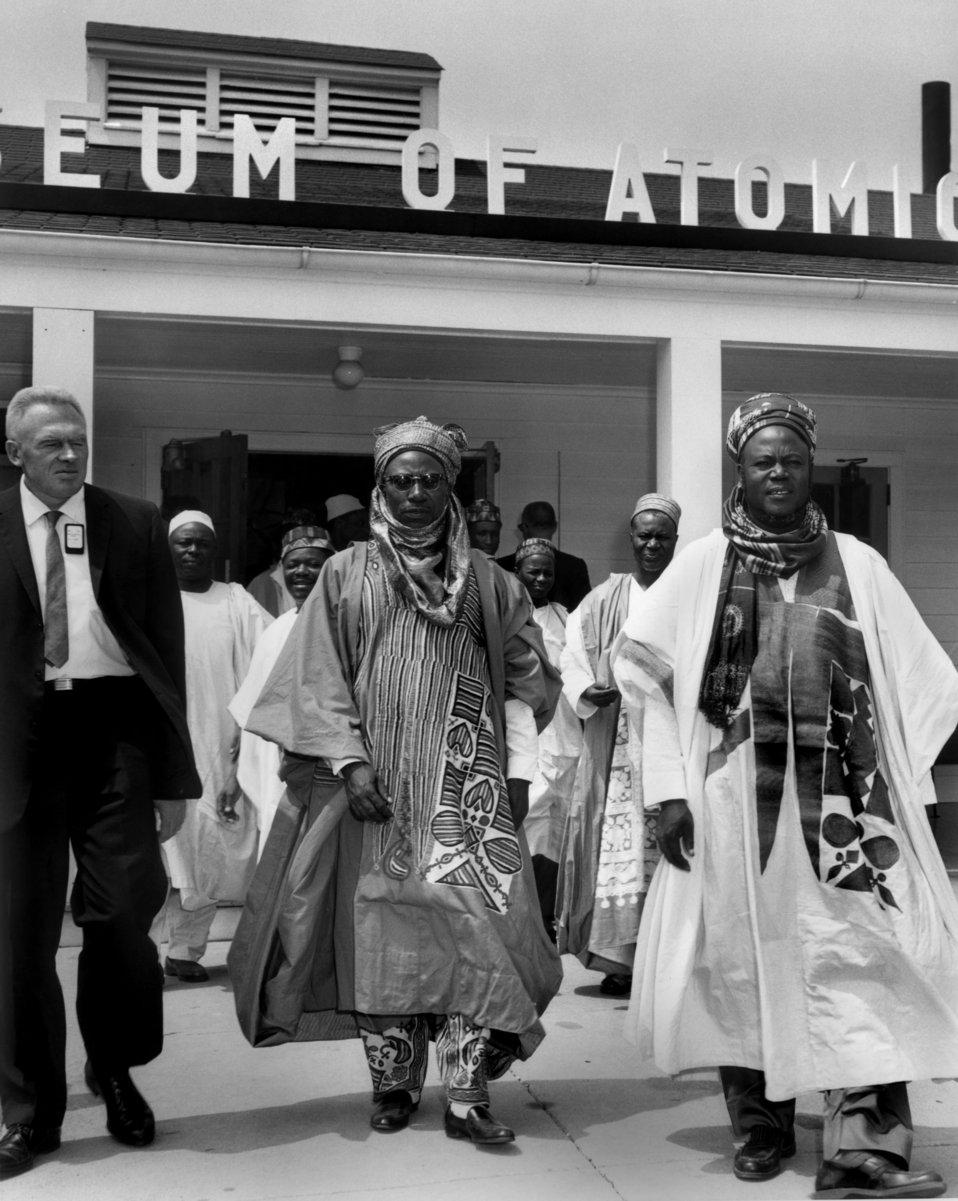 Premier of Nigeria Sir Ahmadu Bello far right leaving the Atomic Museum Oak Ridge