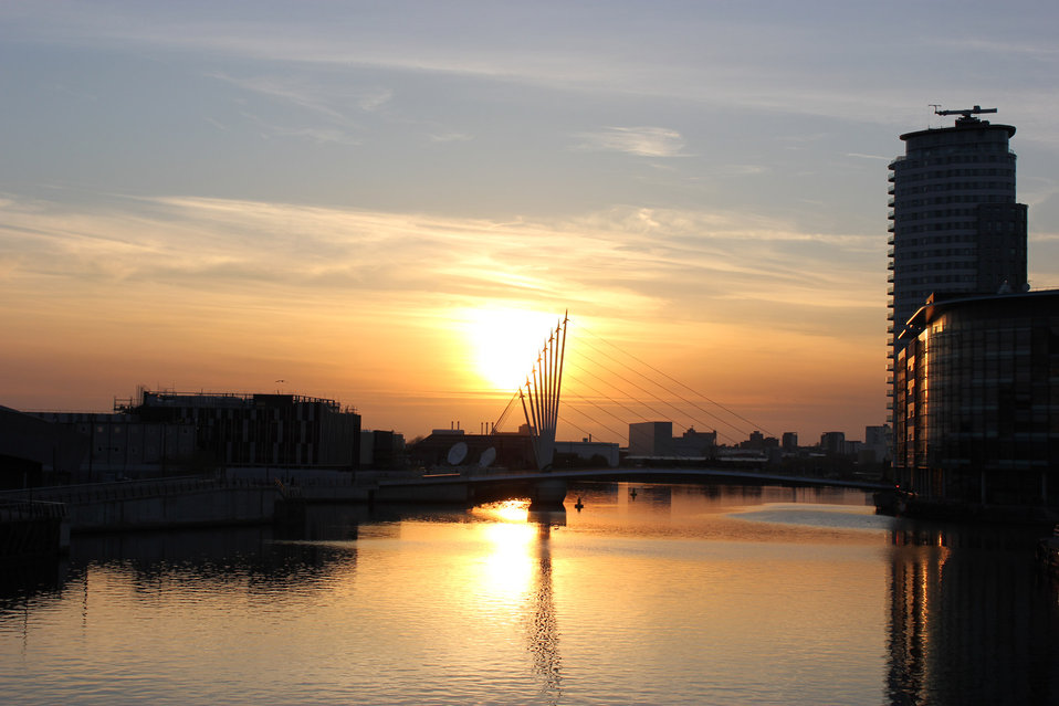 Sunset over media city salford