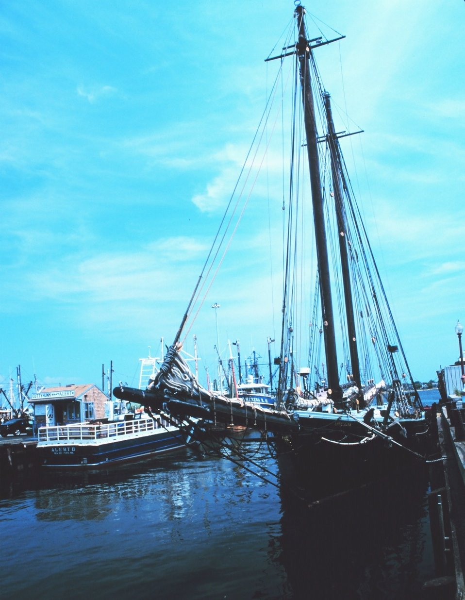The old fishing schooner ERNESTINA at New Bedford Harbor.