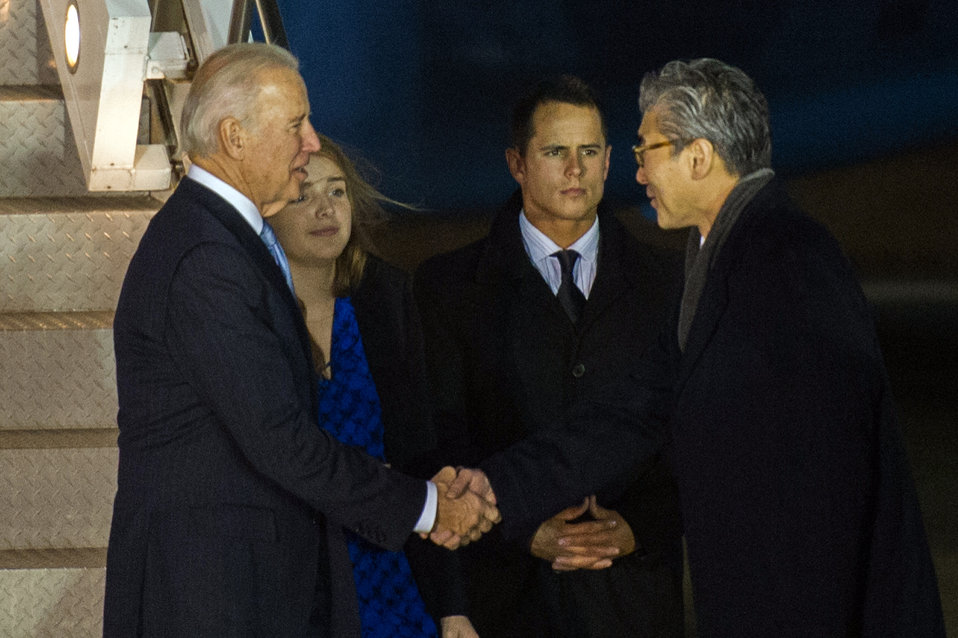 Vice President Biden is Greeted by Ambassador Kim