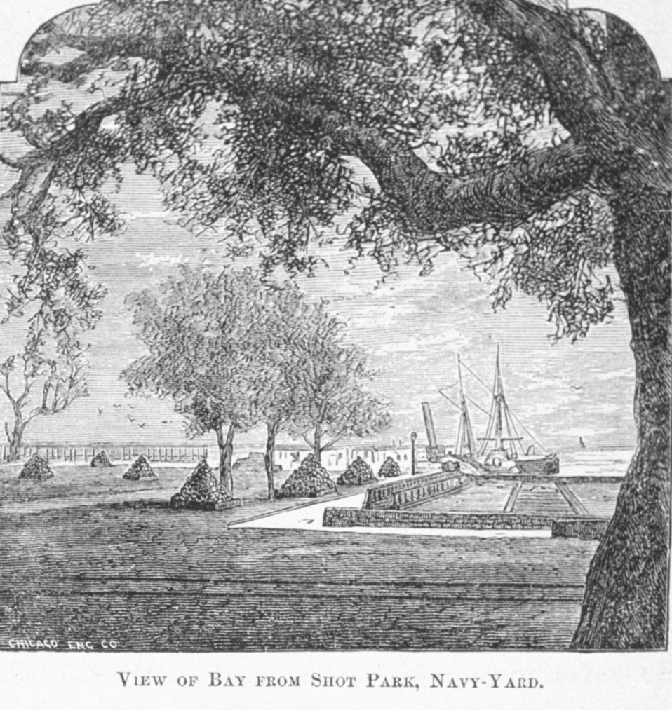View of Bay from Shot Park, Navy Yard at Pensacola - in 'Florida for Tourists, Invalids, and Settlers' by George M. Barbour, 1881.   Library Call No. F316 .B23 1881.