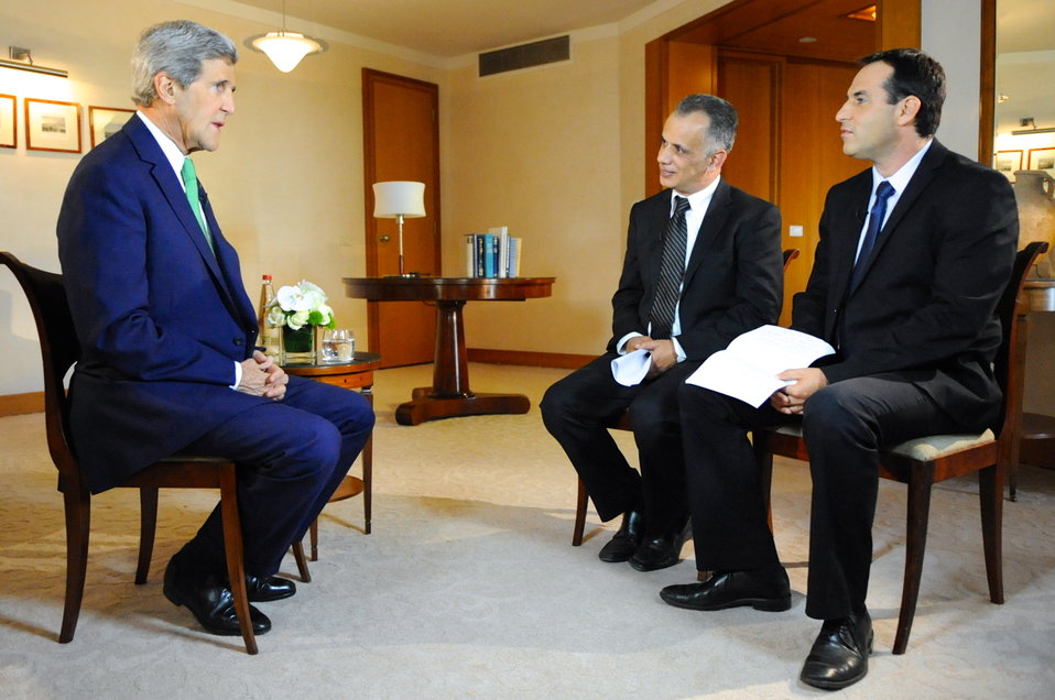 Secretary Kerry Participates in a Joint Interview With an Israeli and a Palestinian Journalist in Jerusalem