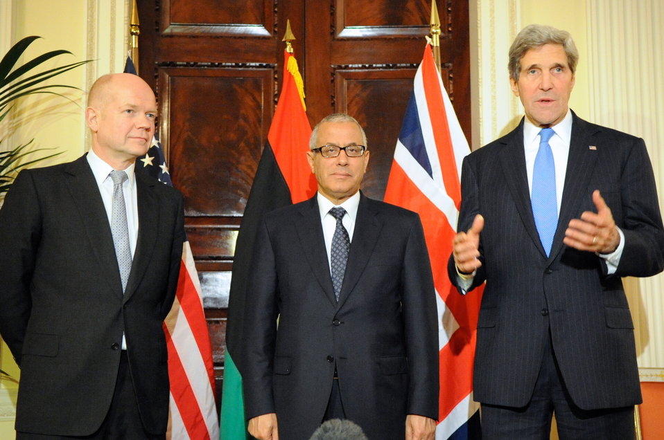 Secretary Kerry, UK Foreign Secretary Hague Hold News Conference With Libyan Prime Minister Ziedan