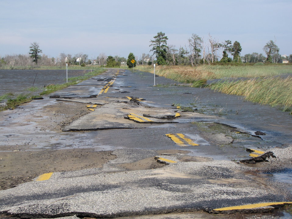 Damaged road at Prime Hook