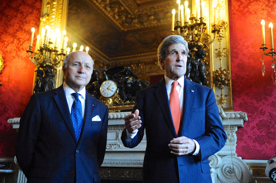Secretary Kerry Meets With French Foreign Minister Fabius in Paris
