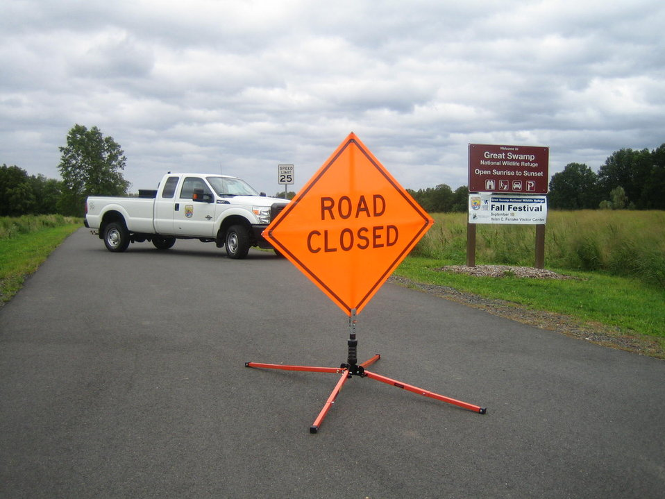 Road closed at Great Swamp