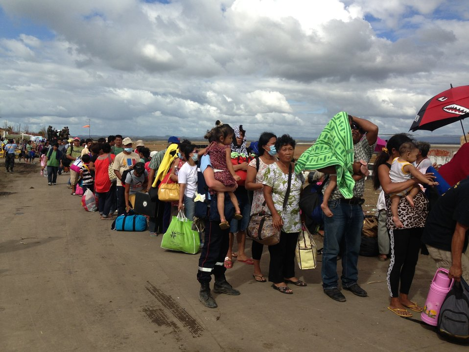 Lines of People Await Transport From Tacloban Airport to Manila or Cebu