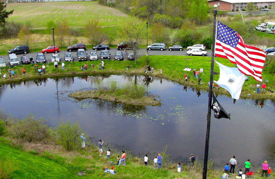 Overhead shot of kids fishing