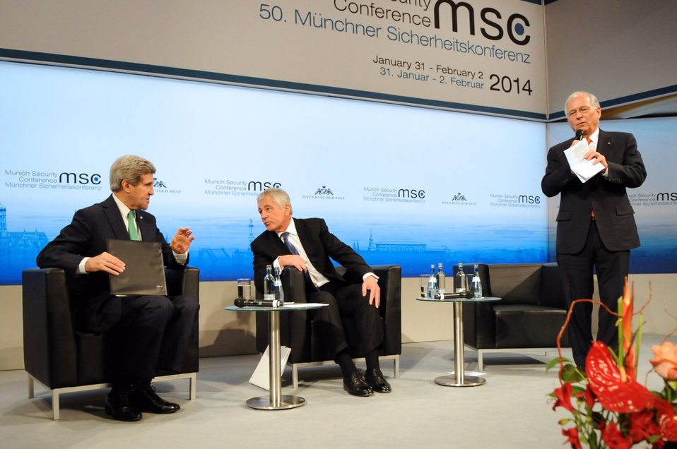 Secretaries Kerry, Hagel Before Joint Panel Discussion at Munich Security Conference