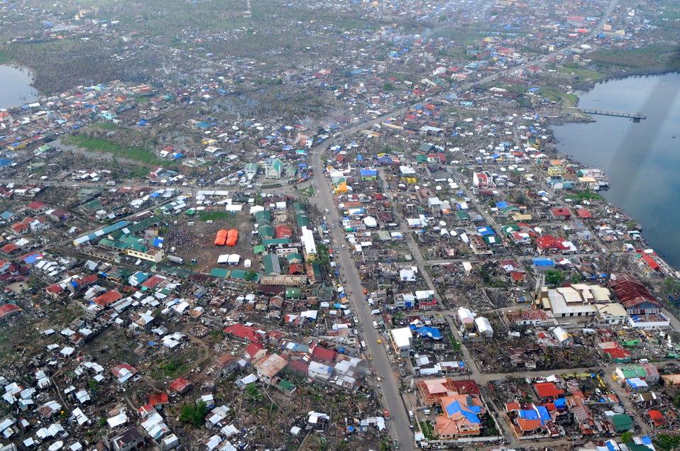 Typhoon Haiyan Damage Visible From Secretary Kerry's Airplane