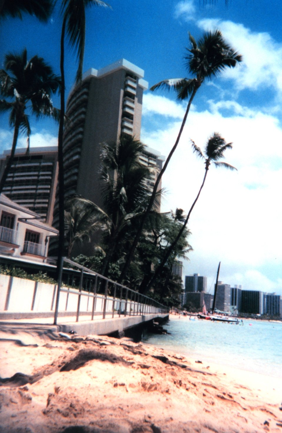 Hotels and palm trees at Waikiki.