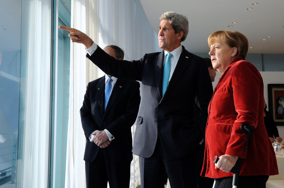 German Chancellor Merkel, Secretary Kerry Look Out at Berlin Landmarks
