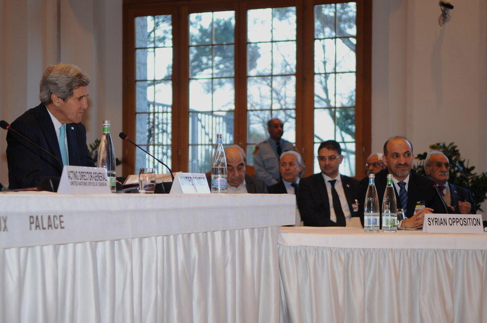 Secretary Kerry Sits Besides Syrian Opposition Coalition President Jarba at Geneva II Conference