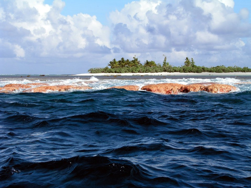 Reef line exposed at low tide at Rose Atoll