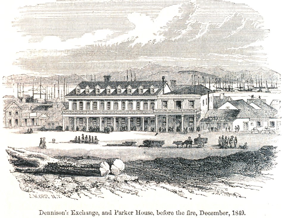 Dennison's Exchange and Parker House before the fire, December 1849. In: 'The Annals of San Francisco'.  Frank Soule, John Gihon, and James Nesbit.  1855.  Page 242.  D. Appleton & Company, New York.  F869.S3.S7 1855.