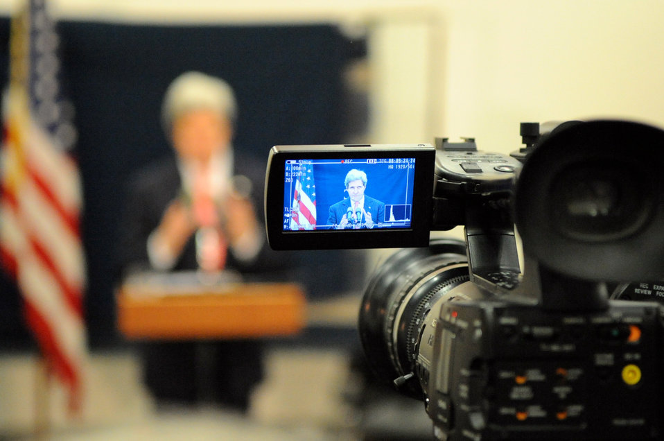 Secretary Kerry Addresses Reporters During a Tel Aviv News Conference