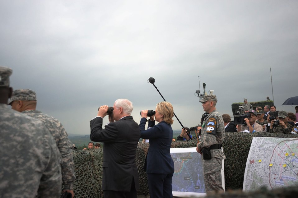 Secretary Clinton and Secretary Gates Look Out Over the Military Demarcation Line (MDL)