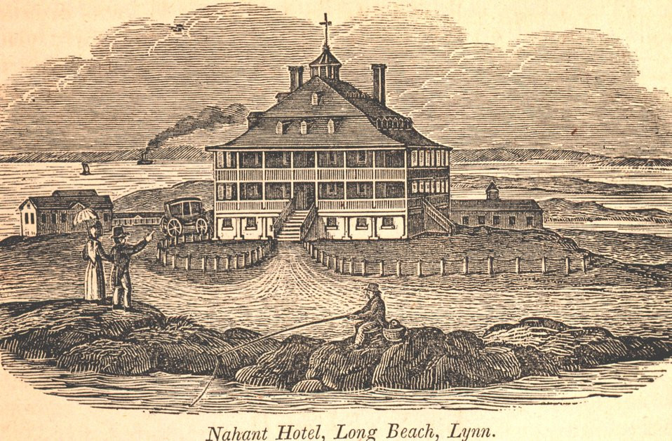 The Nahant Hotel at Long Beach.  This hotel was constructed of stone and had over one hundred rooms. In: Historical Collections ... of Every Town in Massachusetts.  1841.