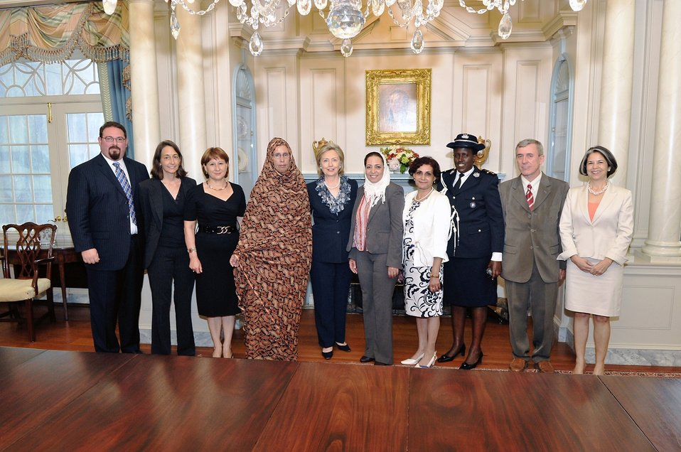 Ambassador CdeBaca, Secretary Clinton, and Under Secretary Otero With TIP Honorees