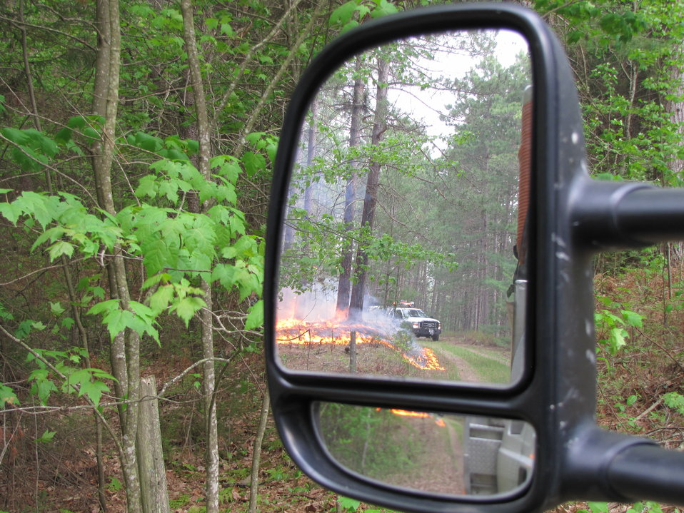 Fire Shown in Car Mirror
