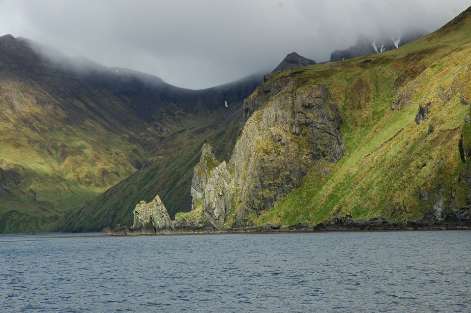 A rugged portion of the coast of Unalaska Island