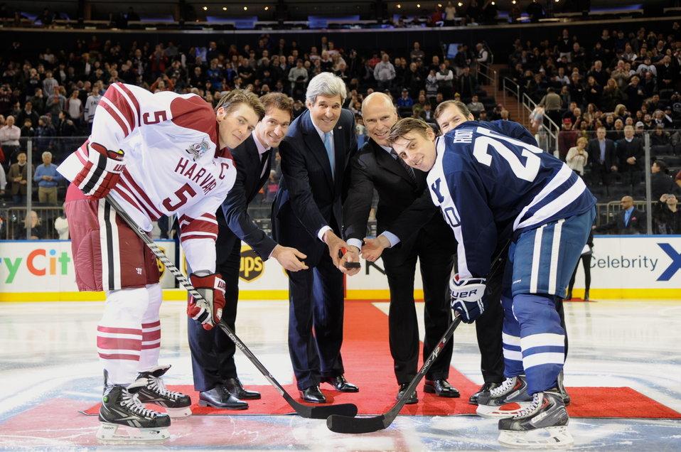 Secretary Kerry Drops Puck at Harvard-Yale Hockey Game