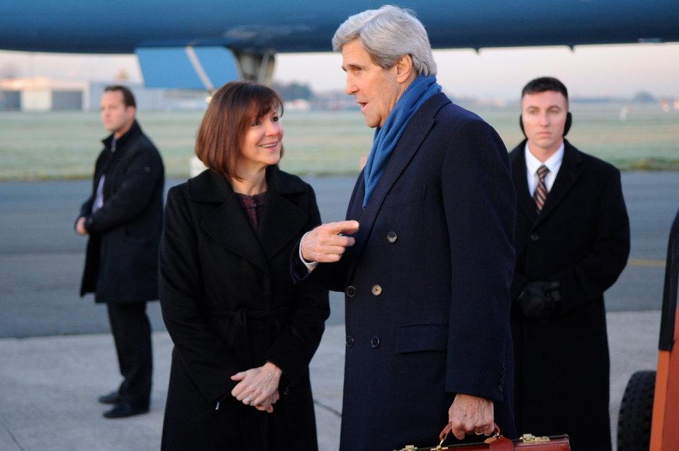 Secretary Kerry Chats With Ambassador Bauer