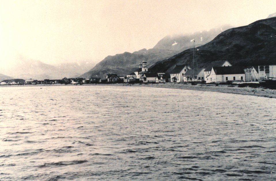 A view of Unalaska.  The Russian Orthodox Church is in the center of the village .  Bureau of Commercial Fisheries 337.