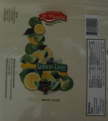 RECALLED – Ice cream productsAll Natural Lemon-Lime