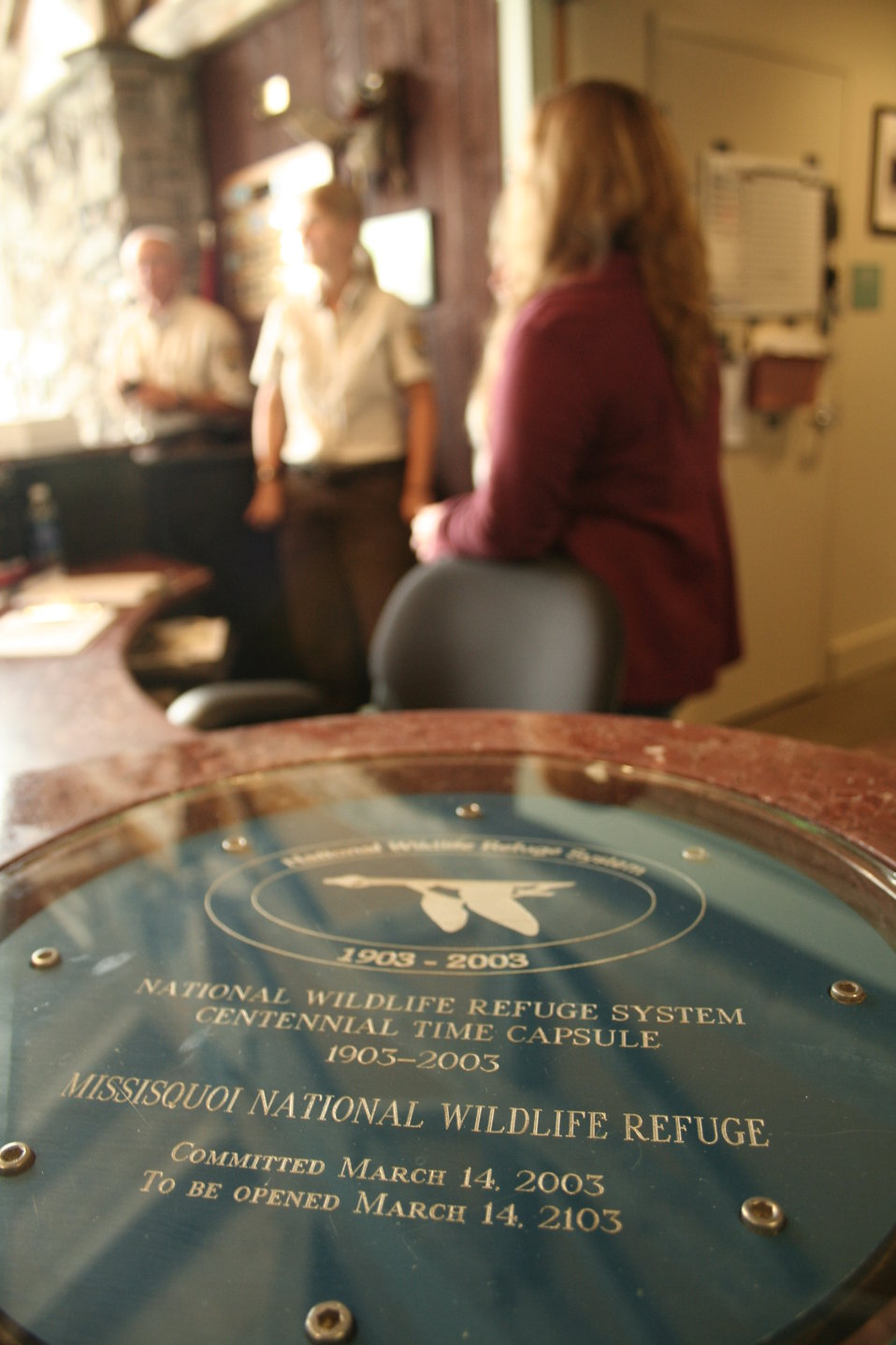 NWRS Centennial time capsule in Missisquoi NWR Visitor Center