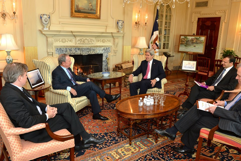 Secretary Kerry Meets With UN Special Envoy Michael Bloomberg