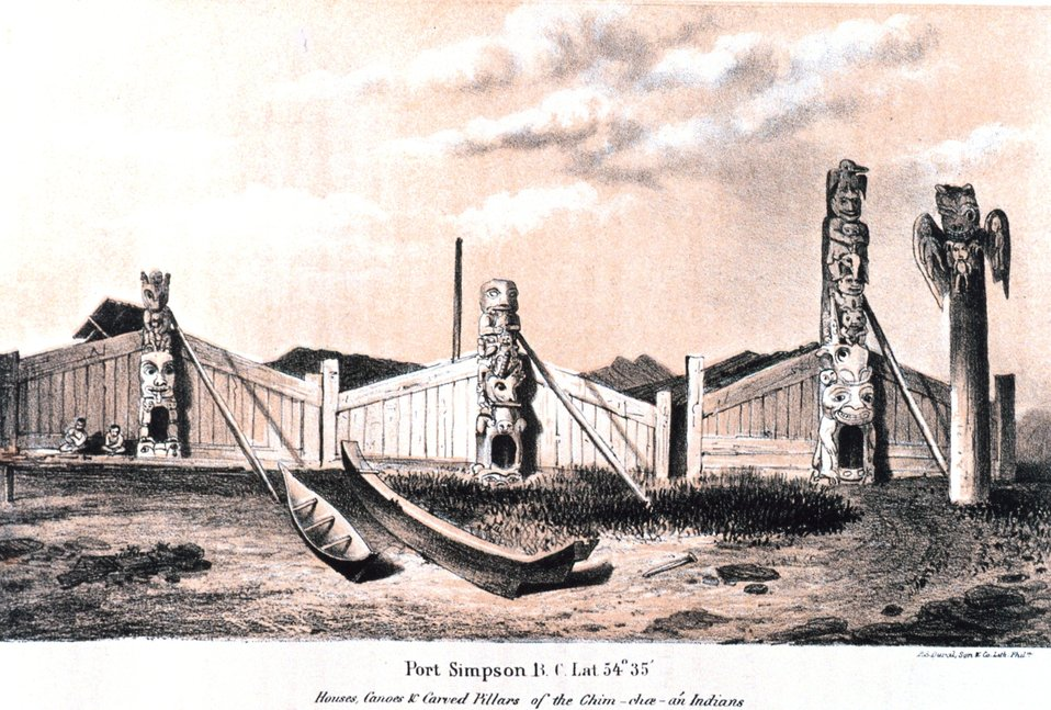 Native dwellings and totem poles at Port Simpson, British Columbia. In:  'Coast Pilot of Alaska, (First Part,) ....' by George Davidson, 1869.  P. 18.  Library Call Number VK943 .N3 1st 1869.