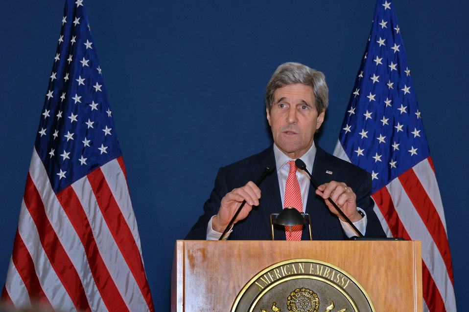 Secretary Kerry Addresses Reporters in Rome