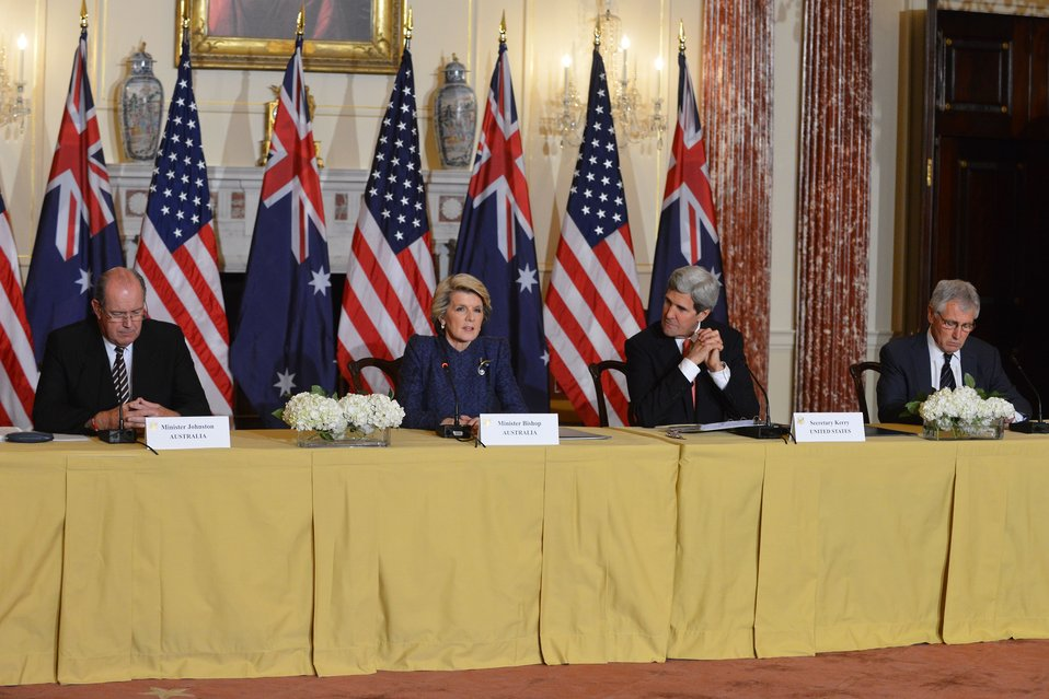 Secretaries Kerry, Hagel and Australian Ministers Bishop, Johnston Address Reporters