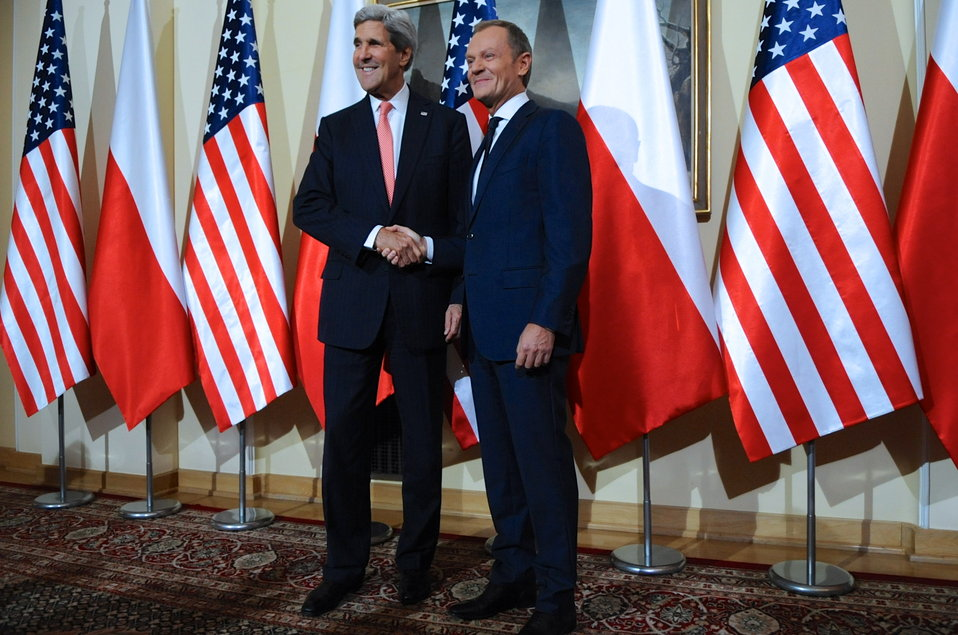 Secretary Kerry Shakes Hands With Polish Prime Minister Tusk
